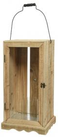 Lucerna, dřevo a sklo, 25x25x52cm, přírodní