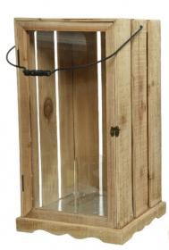 Lucerna, dřevo a sklo, 30x30x61cm, přírodní