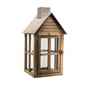 Lucerna, dřevo-kov-sklo, 23x23x45cm, hnědá