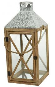 Lucerna, dřevo-kov-sklo-provaz, 25x25x60cm, přírodní