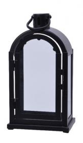 Lucerna, kov a sklo, 15x11x27.5cm, černá