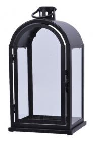 Lucerna, kov a sklo, 20x15x27cm, černá