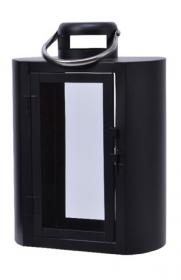 Lucerna, kov a sklo, 21x14x30cm, černá