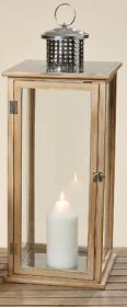 Lucerna MAC, dřevo a sklo, 20x20x55cm, hnědá