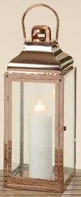 Lucerna Manni, kov a sklo, 22x22x60cm, měděná