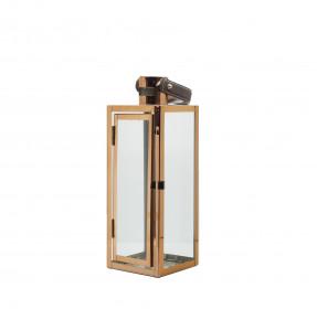 Lucerna, nerez a sklo, 10x10x30cm, růžovo-zlatá