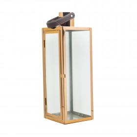 Lucerna, nerez a sklo, 14x14x42cm, růžovo-zlatá
