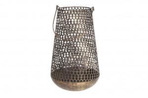 Lucerna-svícen, antik, kov a sklo, průměr 17cm, výška 28.5cm, zlatá