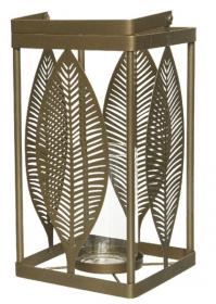 Lucerna-svícen, dekor list, kov a sklo, 17x17x30cm, zlatá
