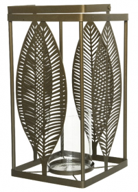 Lucerna-svícen, dekor list, kov a sklo, 19x19x38cm, zlatá