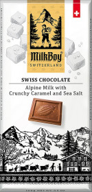 Mléčná čokoláda, Milkboy Switzerland Alpine Milk with Crunchy Caramel and Sea Salt, 100 g