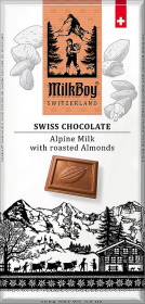 Mléčná čokoláda, Milkboy Switzerland Alpine Milk with roasted Almonds, 100 g