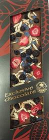 Mléčná čokoláda, Severka Exclusive chocolate s ostružinami, jahodami, mandlemi a fialkami, 120 g
