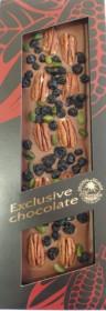 Mléčná čokoláda, Severka Exclusive chocolate s pekany, pistáciemi a borůvkami, 135 g