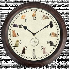 Nástěnné hrací hodiny, s motivem koček, Esschert Design, průměr 30 cm, hnědé