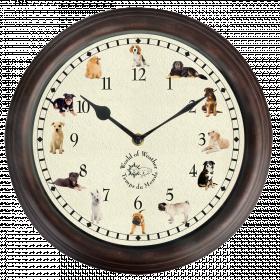 Nástěnné hrací hodiny, s motivem psů, Esschert Design, průměr 30 cm, hnědé