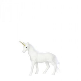 Plastová figurka, jednorožec, s glitry, 14x3x20cm, bílá