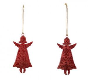 Plechová vánoční ozdoba, anděl, dekor ornamenty, 14x7cm, červená