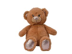 Plyšový medvěd sedící, s glitry, 38x24x50cm, hnědá