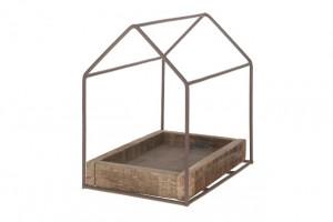 Podnos s rámek, dům, dřevo a kov, 29x19x29cm, hnědá