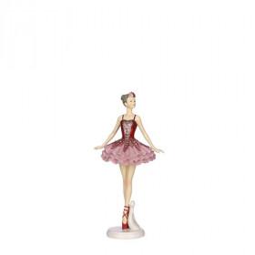 Polyresinová figurka, baletka, 10.5x7.5x21x5cm, růžová