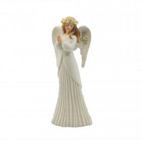 Polyresinový anděl VIOLA, modlící se, 20cm, bílá
