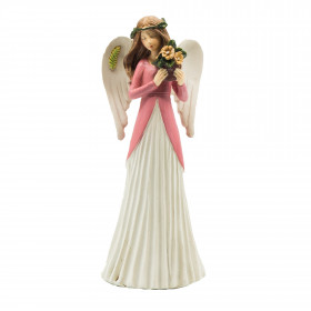 Polyresinový anděl VIOLA, s kyticí, 20cm, bílo-růžová