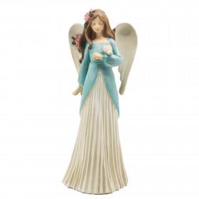 Polyresinový anděl VIOLA, s ptákem, 20cm, bílo-modrá