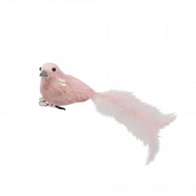 Pták na klipu, pěna a peří, s glitry, 15cm, světle růžová
