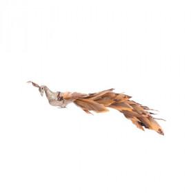 Pták na klipu, pěna a peří, s glitry, 5.5x8x41cm, hnědá
