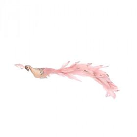 Pták na klipu, pěna a peří, s glitry, 5.5x8x41cm, světle růžová