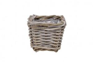 Ratanový obal na květináč, SQUBA, průměr 13 cm, hranatý, béžový