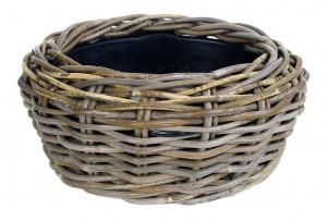 Ratanový obal s květináčem, průměr 32 cm, kulatý, šedo - hnědý