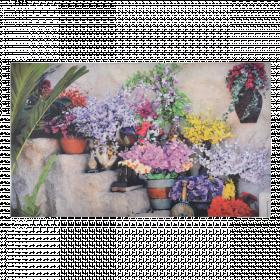 Rohožka s motivem květin, Esschert Design, gumová, délka 75 cm