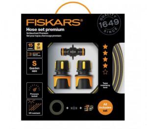 """Sada Fiskars PREMIUM hadice 15 m x 9 mm (3/8"""") + spojky, obsah balení 4 ks"""