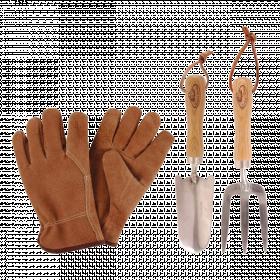Sada zahradního nářadí + rukavice, Esschert Design, stříbrná, 3 ks