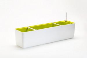Samozavlažovací truhlík Plastia BERBERIS 80 - komplet set, bílo-zelený