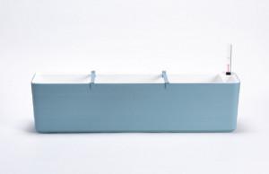 Samozavlažovací truhlík Plastia BERBERIS 80 - komplet set, šedomodro-bílý