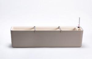 Samozavlažovací truhlík Plastia BERBERIS 80 - komplet set, taupe-slonová kost