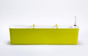 Samozavlažovací truhlík Plastia BERBERIS 80 - komplet set, zeleno-bílý