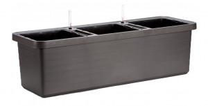 Samozavlažovací truhlík Plastia BERBERIS TRIO 117 - komplet set, antracitový