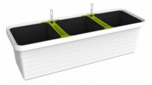 Samozavlažovací truhlík Plastia BERBERIS TRIO 117 - komplet set, bílý