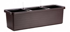 Samozavlažovací truhlík Plastia BERBERIS TRIO 117 - komplet set, čokoládový