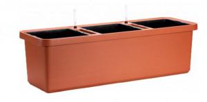 Samozavlažovací truhlík Plastia BERBERIS TRIO 117 - komplet set, terakotový