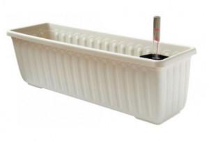 Samozavlažovací truhlík Plastia SIESTA LUX 60 - komplet set, slonová kost