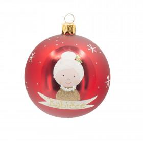 Skleněná vánoční ozdoba, ruční výroba, koule, babičce, průměr 7cm, vínová mat