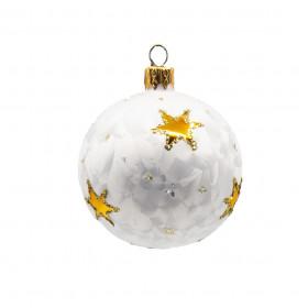 Skleněná vánoční ozdoba, ruční výroba, koule, mrazolak s hvězdami, průměr 7cm, bílá mat