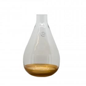 Skleněná váza s úzkým hrdlem, zlatý lem, průměr 20cm, výška 35cm, čirá-zlatá