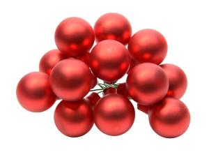 Skleněné dekorační kuličky, s drátkem, svazek 12ks, průměr 2cm, červená mat