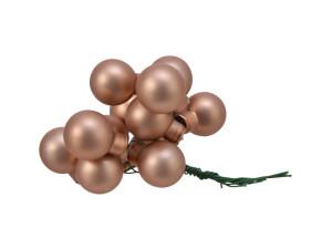Skleněné dekorační kuličky, s drátkem, svazek 12ks, průměr 2cm, karamelová mat